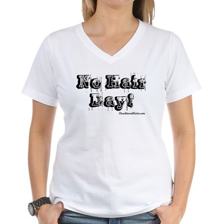 No Hair Day Women's V-Neck T-Shirt