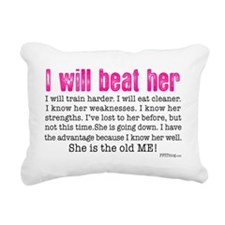 I Will Beat Her Rectangular Canvas Pillow