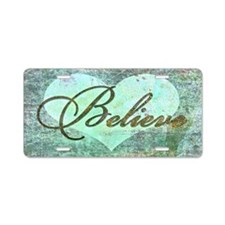 believe teal heart Aluminum License Plate