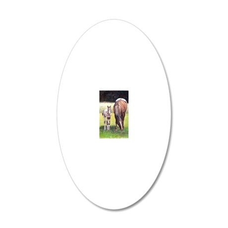 Appaloosa Mare  Foal Portrai 20x12 Oval Wall Decal