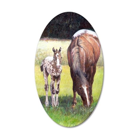 Appaloosa Mare  Foal Portrai 35x21 Oval Wall Decal