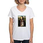 MonaLisa-AussieShep #4 Women's V-Neck T-Shirt