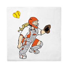 orange2, I love my catcher Queen Duvet