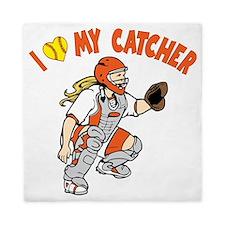 orange, I love my catcher Queen Duvet
