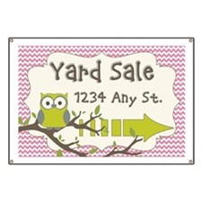 Owl With Chevron Yard Sale Sign Banner