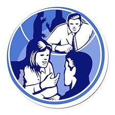 Office Worker Businesswoman Discu Round Car Magnet