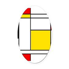 Mondrian Lines Oval Car Magnet