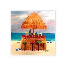 "Beach Tiki Bar Square Sticker 3"" x 3"""