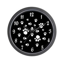 BLACK PAW PRINTS CLOCK Wall Clock
