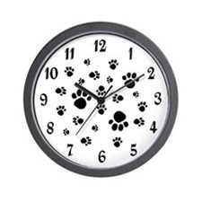 WHITE PAW PRINTS Wall Clock
