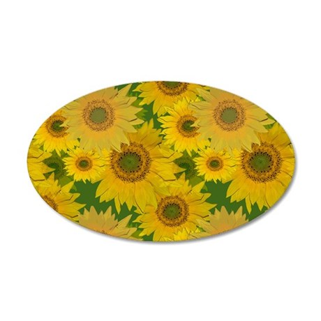 Sunflowers 35x21 Oval Wall Decal