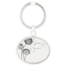 Dandelion Wishes Oval Keychain