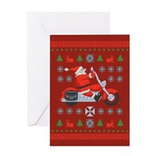 Santa Biker Sweater Tee Greeting Card