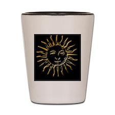 Gold Sun on Black Shot Glass