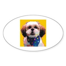 Shih Tzu in Polkadots Oval Decal