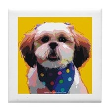 Shih Tzu in Polkadots Tile Coaster