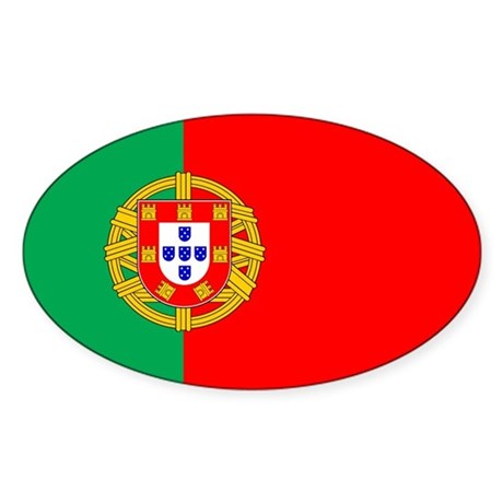Portuguese Flag of Portugal Oval Sticker