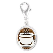Coffee Words Jumble Print - Bro Silver Oval Charm