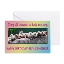 For grandmother, otter family birthday Greeting Ca