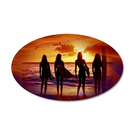 Sexy Surfing Babes 35x21 Oval Wall Decal