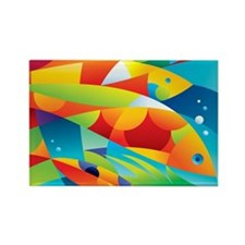 Abstract Fish Rectangle Magnet