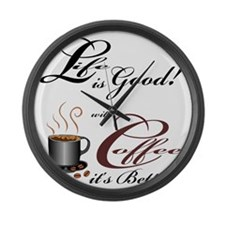 Life and Coffee Large Wall Clock