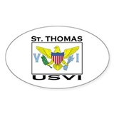 St. Thomas, USVI Flag Oval Decal