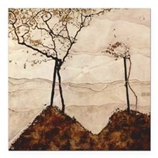 "Autumn Sun and Trees by  Square Car Magnet 3"" x 3"""
