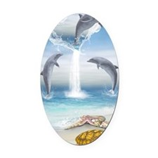 The Heart Of The Dolphins Oval Car Magnet