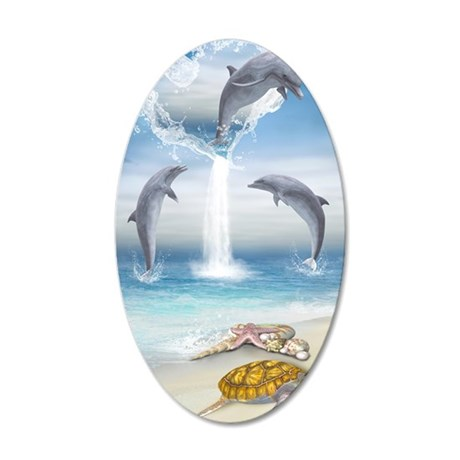The Heart Of The Dolphins 35x21 Oval Wall Decal