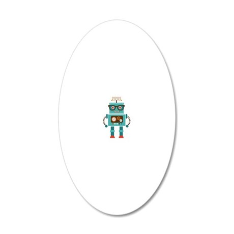 Funky Robot 5 20x12 Oval Wall Decal