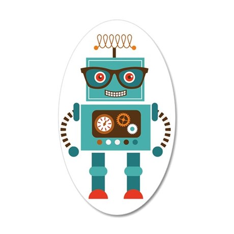 Funky Robot 5 35x21 Oval Wall Decal