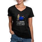 Better Be On Fire Women's V-Neck Black T-Shirt
