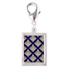 Elegant Medieval Blue and Go Silver Portrait Charm