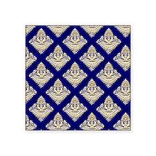 "Elegant Medieval Blue and G Square Sticker 3"" x 3"""