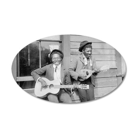 Travelling Musicians 35x21 Oval Wall Decal