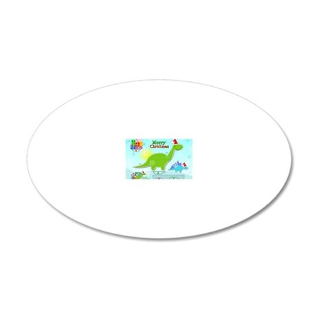 Cute Christmas Cartoon Dinos 20x12 Oval Wall Decal