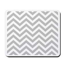 Gray and White Chevrons Mousepad