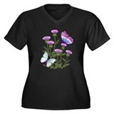 Thistles and Butterflies Women's Plus Size V-Neck