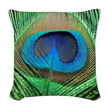 Peacock Feather Woven Throw Pillow