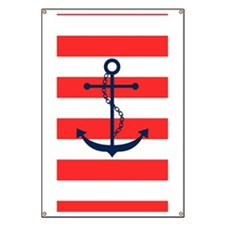 Blue Anchor on Red Stripes Banner