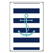 Teal Anchor on Navy Blue Stripes Banner
