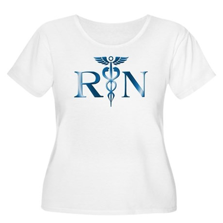 RN Nurse Caduceus Women's Plus Size Scoop Neck T-S