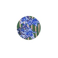 Daylily Abstract Blue Mini Button