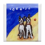 Boston Terrier beach Tile Coaster