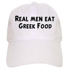 Men eat Greek Food Baseball Cap