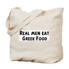 Men eat Greek Food Tote Bag