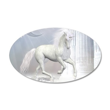 White Unicorn 2 35x21 Oval Wall Decal