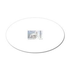 White Unicorn 2 20x12 Oval Wall Decal
