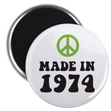 "Made In 1974 Peace Symbol 2.25"" Magnet (10 pack)"